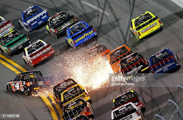 Christopher Bell driver of the JBL Toyota has an on track incident during the NASCAR Camping World Truck Series NextEra Energy Resources 250 at...