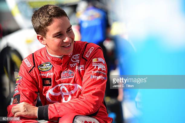 Christopher Bell driver of the JBL Toyota looks on during practice for the NASCAR Camping World Truck Series Ford EcoBoost 200 at HomesteadMiami...