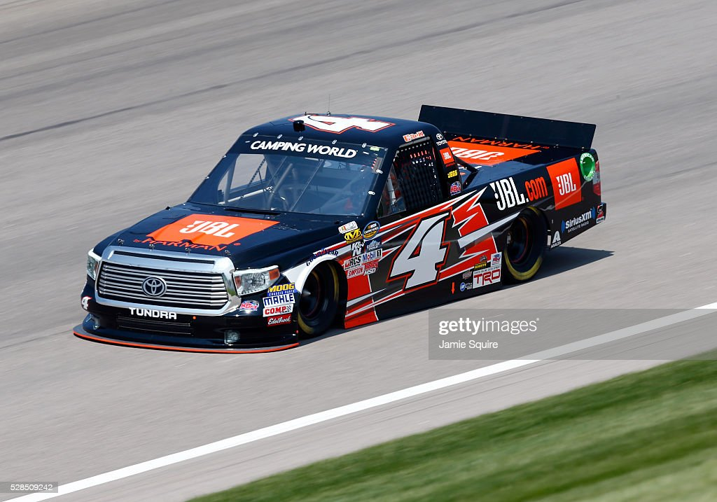 Christopher Bell, driver of the #4 JBL Toyota, practices for the NASCAR Camping World Truck Series 16th Annual Toyota Tundra 250 on May 05, 2016 in Kansas City, Kansas.