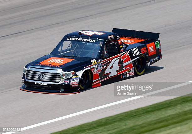 Christopher Bell driver of the JBL Toyota practices for the NASCAR Camping World Truck Series 16th Annual Toyota Tundra 250 on May 05 2016 in Kansas...