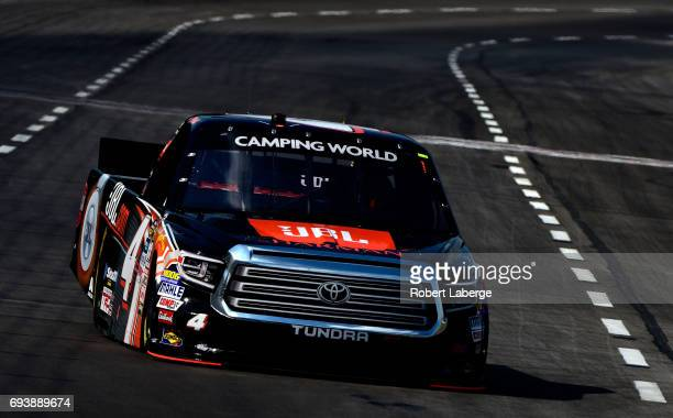 Christopher Bell driver of the JBL Toyota practices for the NASCAR Camping World Truck Series winstaronlinegamingcom 400 at Texas Motor Speedway on...