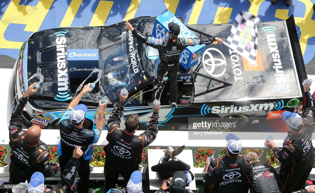 Christopher Bell, driver of the #4 SiriusXM Toyota, celebrates in Victory Lane after winning the NASCAR Camping World Truck Series Overton's 150 at Pocono Raceway on July 29, 2017 in Long Pond, Pennsylvania.