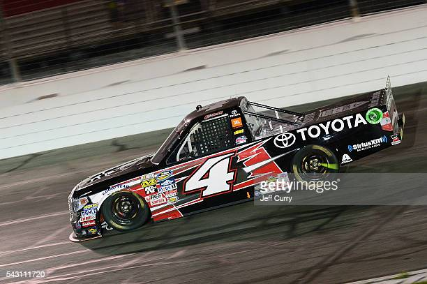 Christopher Bell driver of the Toyota Toyota races during the NASCAR Camping World Truck Series Drivin' for Linemen 200 at Gateway Motorsports Park...