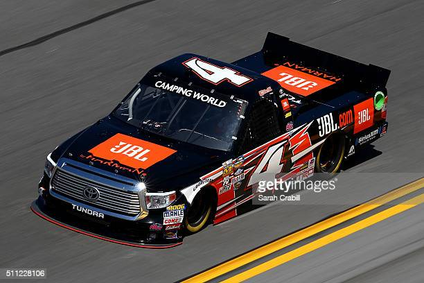Christopher Bell drives the JBL Toyota during practice for the NASCAR Camping World Truck Series NextEra Energy Resources 250 at Daytona...