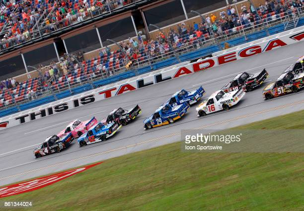 Christopher Bell Toyota Toyota Tundra leads the field to the green flag to start the Fred's 250 NASCAR Camping World truck race on October 14 at the...