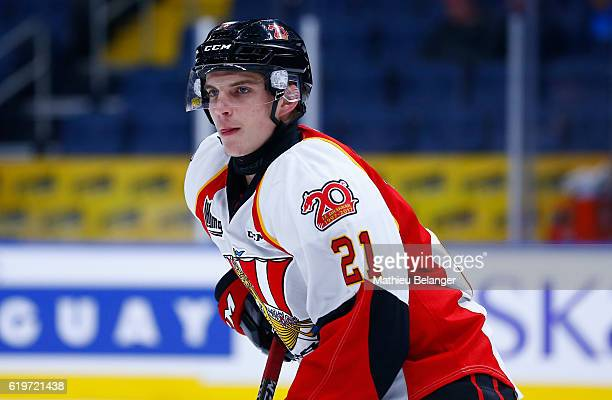 Christopher Benoit of the Baie Comeau Drakkar skates against the Quebec Remparts during their QMJHL hockey game at the Centre Videotron on October 14...
