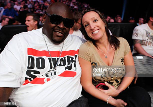 Christopher 'Big Black' Boykin and his wife Shannon in attendance at the Strikeforce event at American Airlines Center on June 18 2011 in Dallas Texas