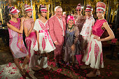 Christopher Biggins and Zandra Rhodes pose with models during the Zandra Rhodes presentaion during London Fashion Week Spring/Summer 2016/17 on...