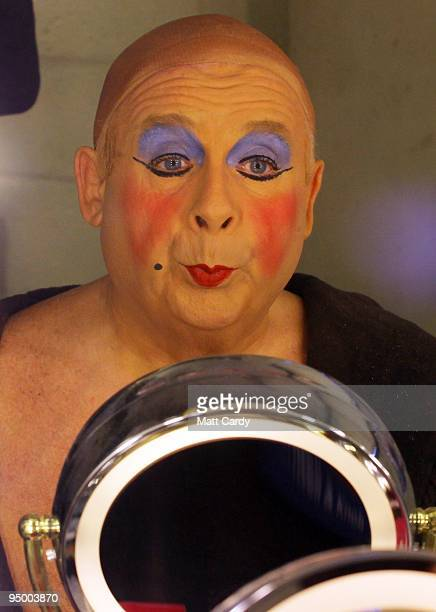 Christopher Biggins prepares for his role as panto dame Widow Twankey at the Theatre Royal Plymouth's production of Aladdin on December 22 2009 in...
