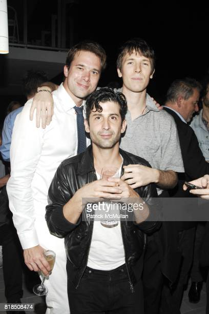 Christopher Bollen Andre Saraiva Ryan McGinley attend the INTERVIEW Magazine LVMH Host's Art Basel 2009 Cocktails and Dinner at Mondrian Hotel on...