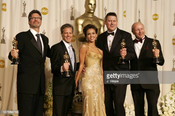 Christopher Boyes Michael Semanick Michael Hedges and Hammond Peek winners Best Sound Mixing for 'King Kong' with presenter Jessica Alba
