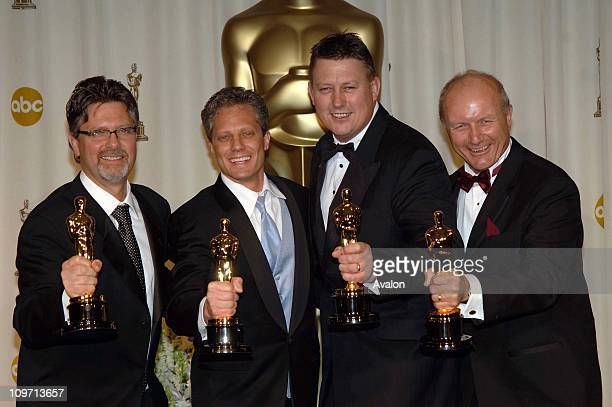 Christopher Boyes Michael Semanick Michael Hedges and Hammond Peek with their awards for Achievment in Sound Mixing at the 78th Annual Academy Awards...