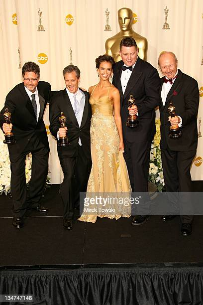 """Christopher Boyes Michael Semanick Michael Hedges and Hammond Peek winners Best Sound Mixing for """"King Kong"""" with presenter Jessica Alba"""