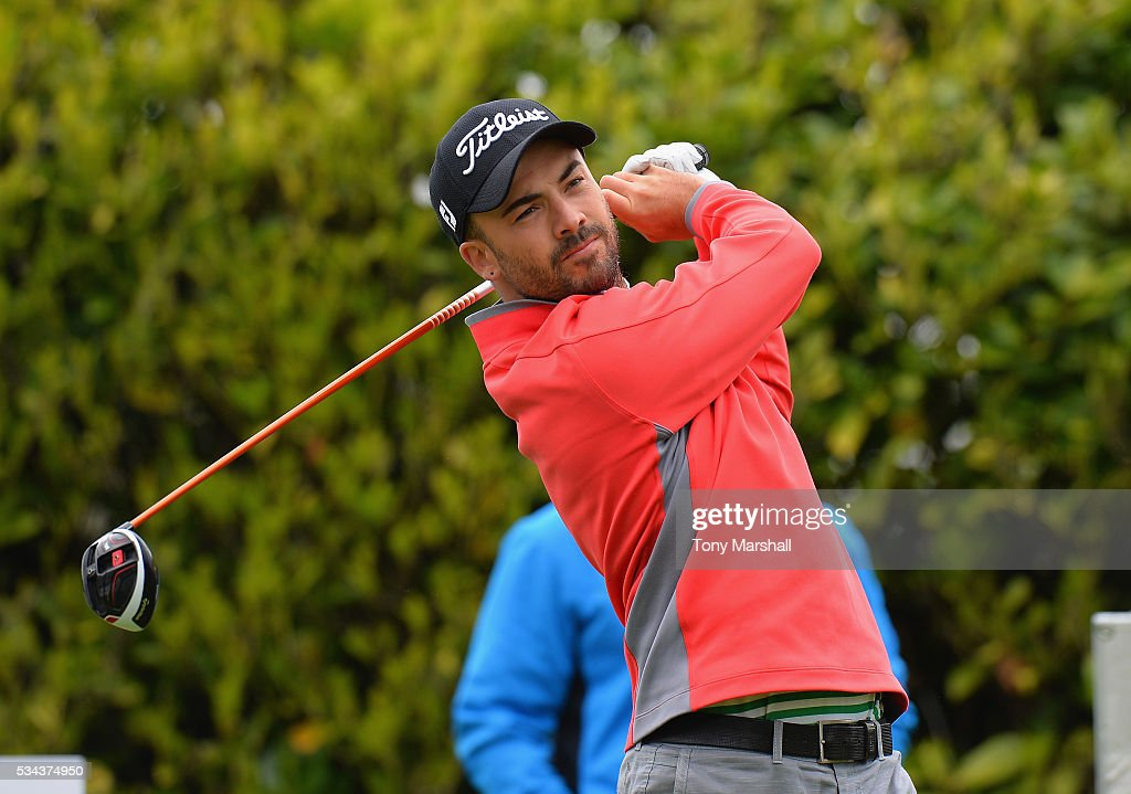 Christopher Bradshaw of Whittington Heath Golf Club plays his first shot on the 1st tee during the PGA Assistants Championships - Midlands Qualifier at the Coventry Golf Club on May 26, 2016 in Coventry, England.