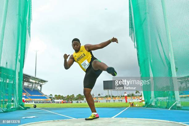 Christopher Brown of Jamaica competes in the Boys Discus Throw Final during the Athletics on day 3 of the 2017 Youth Commonwealth Games at Thomas A...