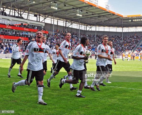 Christopher Buchtmann of Germany celebrates with his team during the Uefa U17 European Championship Final between Netherlands and Germany at the...
