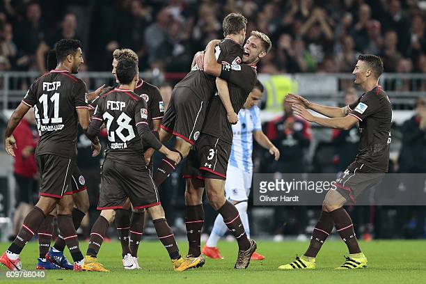Christopher Buchtmann of Pauli celebrates after scoring their first goal with Lasse Sobiech during the Second Bundesliga match between FC St Pauli...