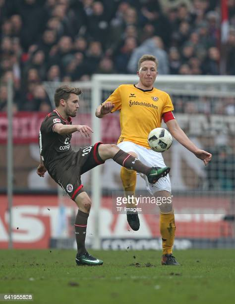 Christopher Buchtmann of St Pauli and Marco Hartmann of Dynamo Dresden battle for the ball during the Second Bundesliga match between FC St Pauli and...