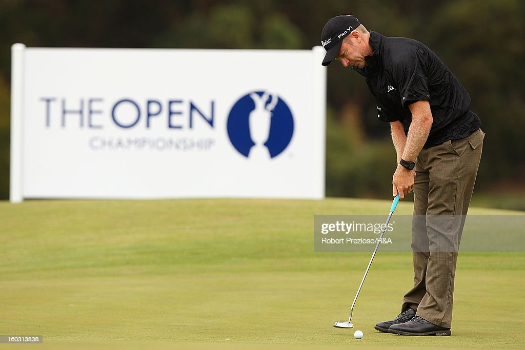 Christopher Campbell of Australia plays a shot on the 18th hole during the Open International Final Qualifying Australasia day one at Kingston Heath Golf Club on January 29, 2013 in Melbourne, Australia.