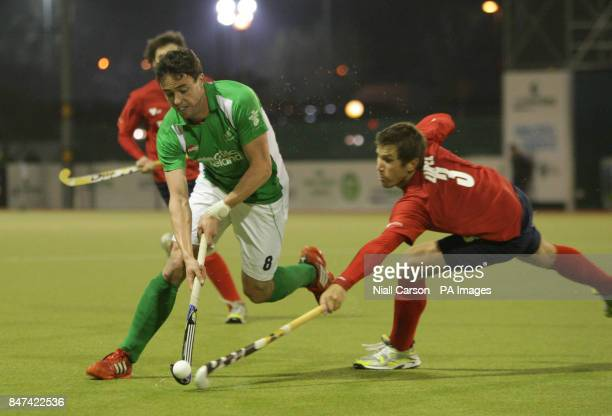 Christopher Cargo of Ireland and Jose Zirpel of during the FIH Olympic Games Qualifying Tournament at the Belfield Dublin PRESS ASSOCIATION Photo...