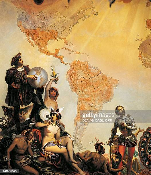 Christopher Columbus and the discovery of America detail from Allegory of the dominions of Charles V by Cesare Dell'Acqua Trieste Castello Di Miramare
