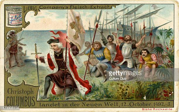 Christopher Columbus arrives in the New World 12 October 1492 Published 1892 Liebig Company collectible card series Christopher Columbus No 3 CC...