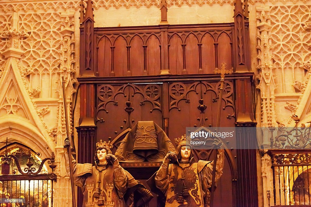 Christopher Columbus Crypt Statues Seville Cathedral Spain : Stock Photo