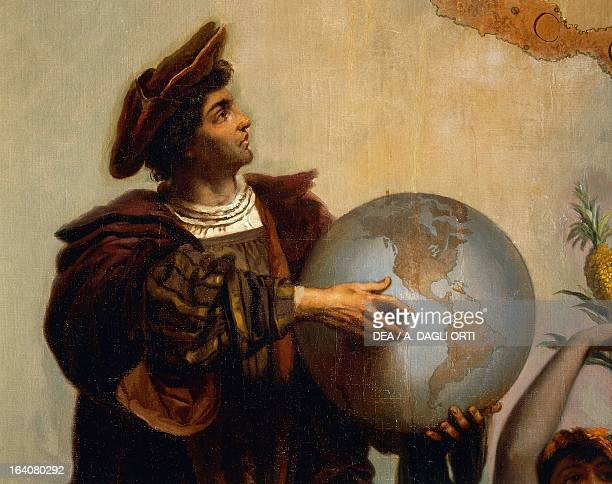 Christopher Columbus detail from Allegory on Charles V of Habsburg as Ruler of the world painting by Peter Johann Nepomuk Geiger Throne Room Miramare...