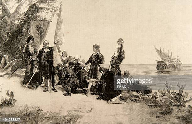 Christopher Columbus Explorer and navigator genoese Columbus taking possession of the island of San Salvador Engraving by Martin Rico after a...