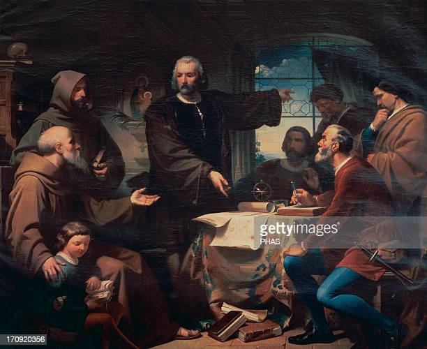 Christopher Columbus Genoese navigator Columbus at the Convent of La Rabida 1872 Copy by F Adam of the homonimous painting by Eduardo Cano de la Pena...