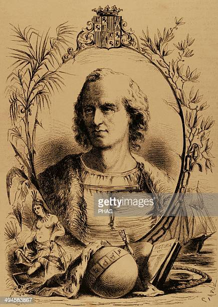 Christopher Columbus Genoese navigator Engraving by Capuz The Spanish and American Illustration 1870