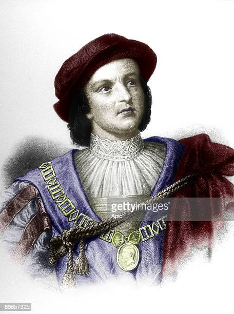 Christopher Columbus italian explorer who discovered new World in 1492 engraving colorized document
