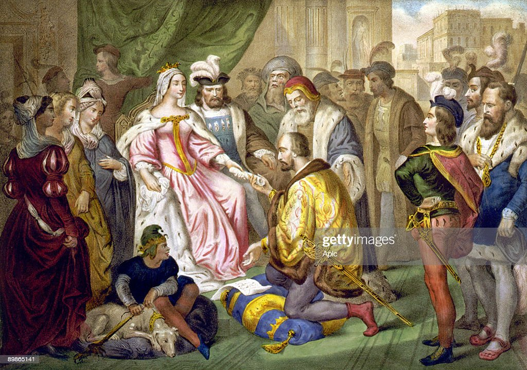 Christopher Columbus kneeling in front of Queen Isabella I., Columbus