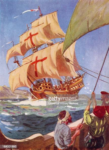 Christopher Columbus Leaves The Coast Of Spain In His Flag Ship The Santa Maria On His First Voyage To The New World 1492 Christopher Columbus C1451...