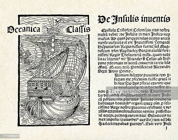 Christopher Columbus' letter Written 14 February 1493 on the caravel 'Nina' Latin translation and introduction by Leander de Cosco facing page with...