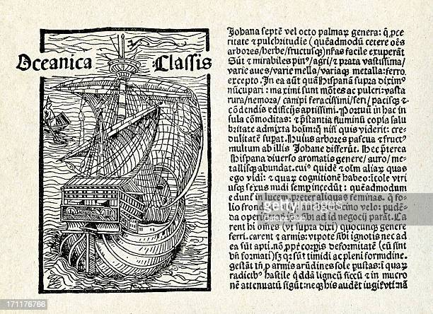 Christopher Columbus' letter Written 14 February 1493 on the caravel 'Nina' Latin translation by Leander de Cosco facing page with engraving of a...