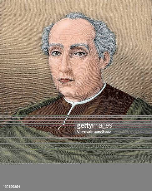 Christopher Columbus Navigator colonizer and explorer Colored engraving