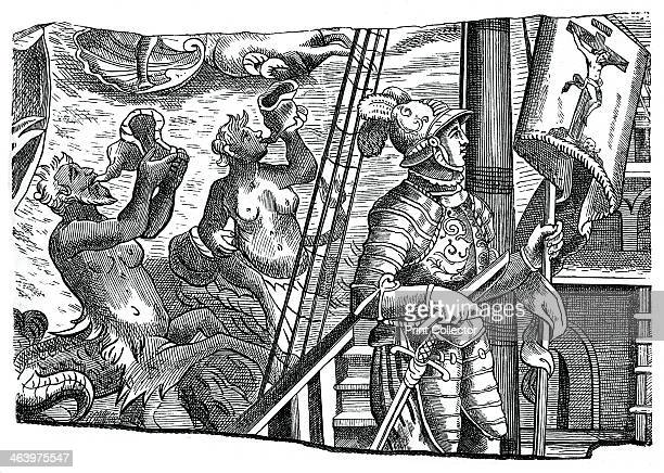 Christopher Columbus on board his ship during his first voyage to the west 16th century A merman and a mermaid blow conch shells as Columbus stands...