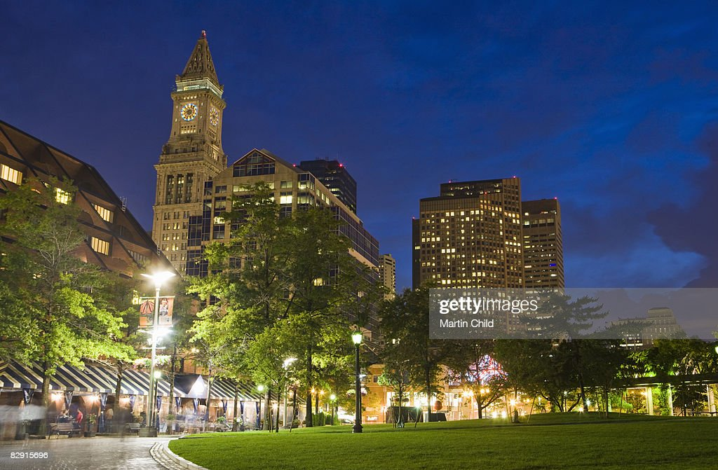 Christopher Columbus Park at night : Stock Photo