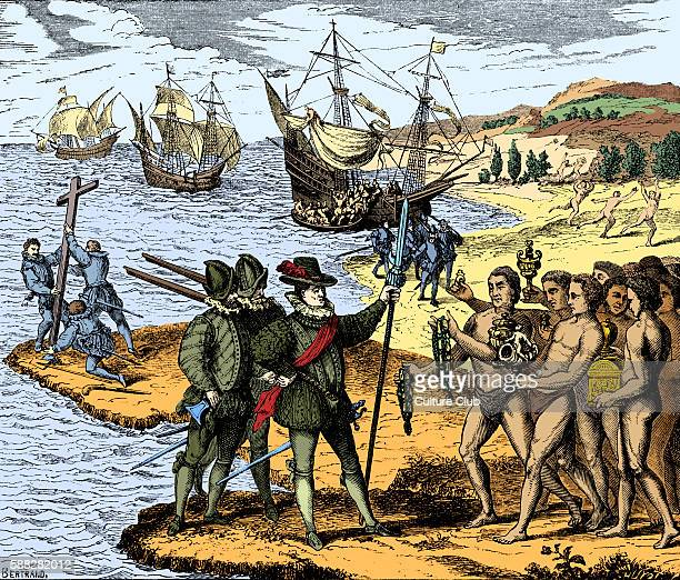 Christopher Columbus setting foot on American soil for the first time being met by the indigenous population Engraving from Americae partes 1590 CC...