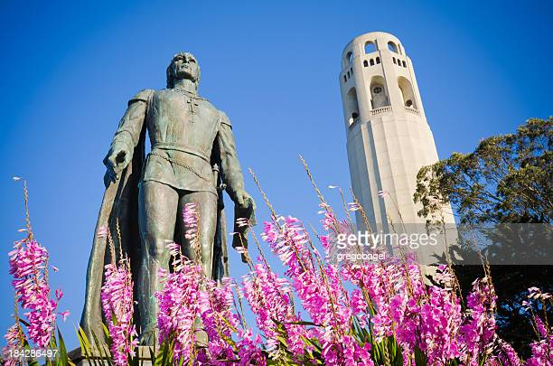 Christopher Columbus statue and Coit Tower in San Francisco, CA