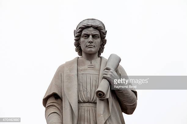 Christopher Columbus statue in Columbus Piazza in Little Italy on April 9 2015 in Baltimore Maryland