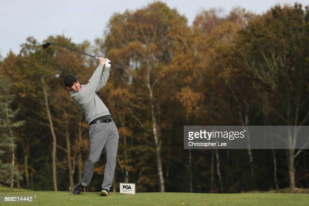 Christopher Currie of Caldwell Golf Club in action during Day 1 of the PGA PlayOffs at Walton Heath Golf Club on October 30 2017 in Tadworth England