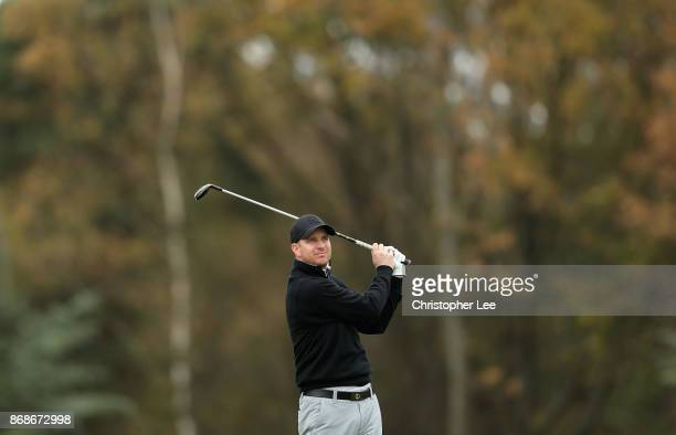 Christopher Currie of Caldwell Golf Club in action during Day 2 of the PGA PlayOffs at Walton Heath Golf Club on October 31 2017 in Tadworth England
