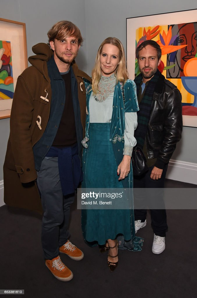 Christopher De Vos, Alice Naylor-Leyland and Peter Pilotto attend the launch of new book 'London Uprising: Fifty Fashion Designers, One City' by Tania Fares and Sarah Mower at Sotheby's on March 14, 2017 in London, England.