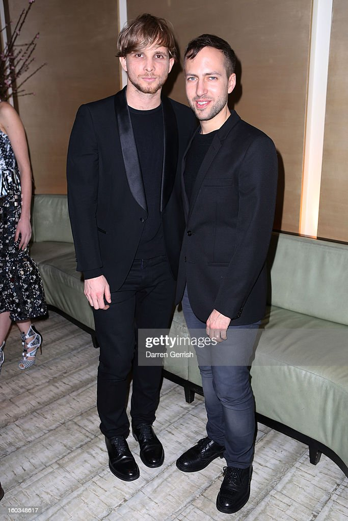 Christopher de Vos and Peter Pilotto attend Nobu Berkeley during the BFC/Vogue Designer Fashion Fund Winners Announcement on January 29 2013 in...