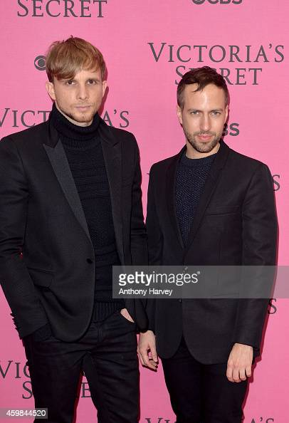 Christopher De Vos and Peter Pilotto attend the pink carpet of the 2014 Victoria's Secret Fashion Show on December 2 2014 in London England