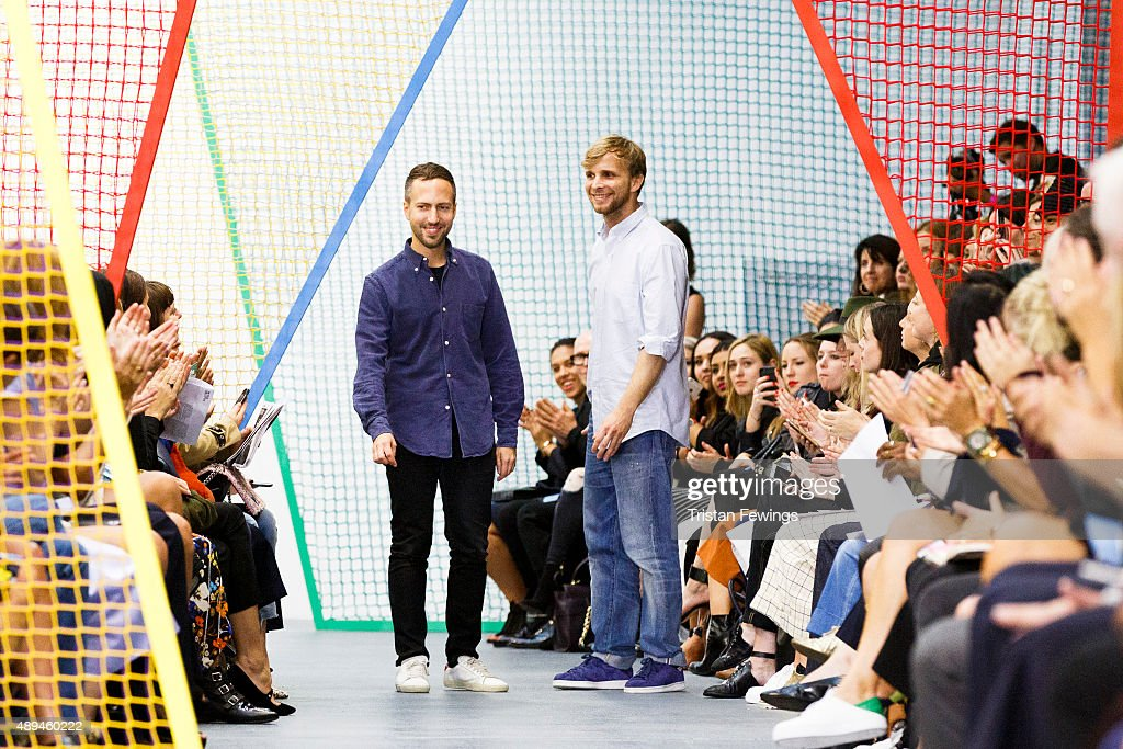 Christopher De Vos and Peter Pilotto on the runway at the Peter Pilotto show during London Fashion Week Spring/Summer 2016/17 on September 21 2015 in...