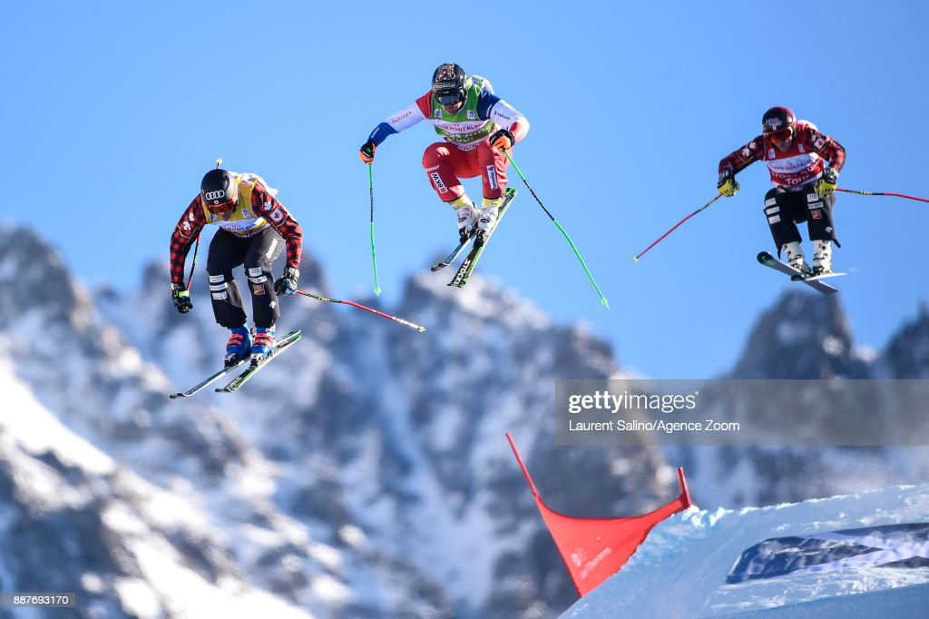 Christopher Delbosco of Canada takes 1st place, Jonas Lenherr of Switzerland competes, Brady Leman of Canada competes during the FIS Freestyle Ski World Cup, Men's and Women's Ski Cross on December 7, 2017 in Val Thorens, France.
