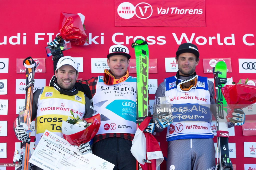 Christopher Delbosco of Canada takes joint 1st place, Arnaud Bovolenta of France takes 2nd place, Terence Tchiknavorian of France takes 3rd place during the FIS Freestyle Ski World Cup, Men's and Women's Ski Cross on December 7, 2017 in Val Thorens, France.